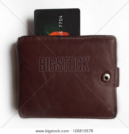 Credit card in a purse isolated on white background