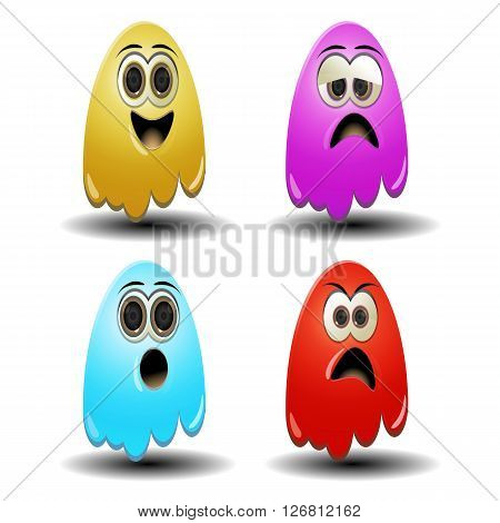 colorful gost emoticons to express your mood poster