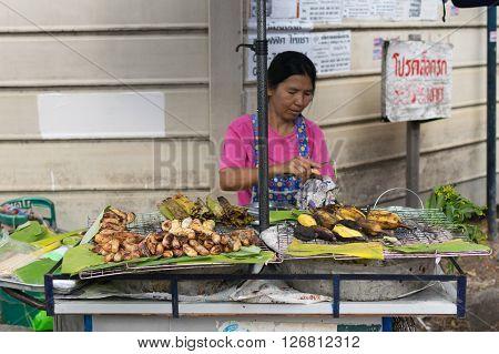 Thai Street Food, Yams And Bananas