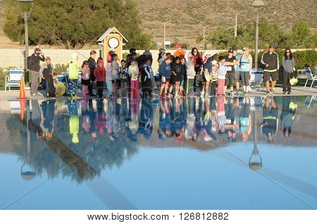 Hemet California/USA-April 17 2016:Athlete at pool the Diamond Valley Triathlon