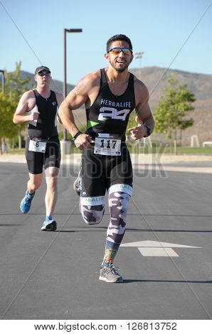 Hemet California/USA-April 17 2016:Athlete running in the Diamond Valley Triathlon