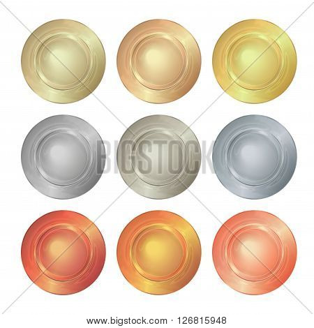 vector round empty polished templates from gold platinum silver bronze copper brass which can be used as print medals badges coins medals tags labels