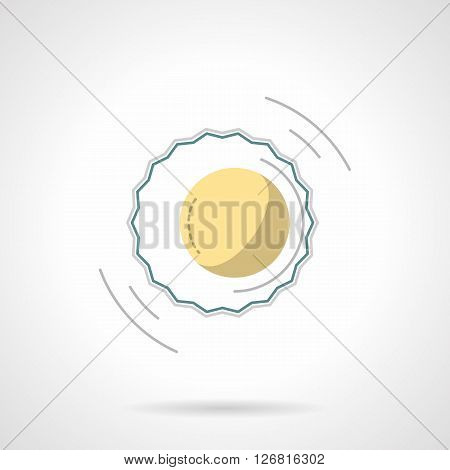 Moon and sun, eclipse symbol. Solar corona sign. Astronomy and nature phenomena and events. Flat color style vector icon. Web design element for site, mobile and business.