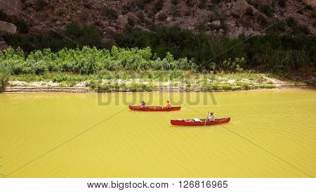 BIG BEND NATIONAL PARK, TEXAS - APRIL 3: Canoe's on the Rio Grande River in Santa Elena Canyon at Big Bend National Park on April 4th, 2016.