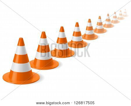 Row of white and orange traffic cones on white background. Safety sign used to prevent accidents during road construction