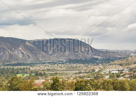 Beautiful landscape mountain view in the middle of earth city in the outsides of Quito Ecuador South America