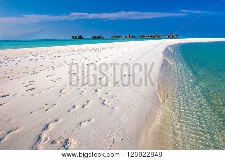 Maldives Resort Bridge. Tropical Island With Sandy Beach, Palm Trees And Tourquise Clear Water