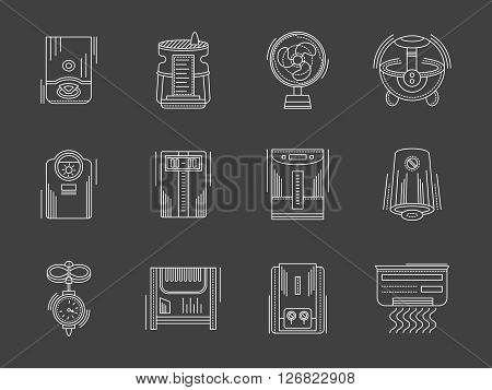 Climatic equipment and appliances. Heating and cooling, air conditioning and humidification. Collection of white flat line style vector icons on black. Elements for web design, business, mobile app.