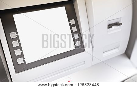 Closeup of blank ATM machine display. Mock up 3D Rendering
