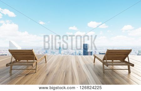 Wooden ground with two chaise longues and New York city in the background. 3D Rendering