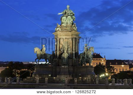 Maria-Theresien-Platz with a large statue depicting Empress Maria Theresa in Vienna in Austria