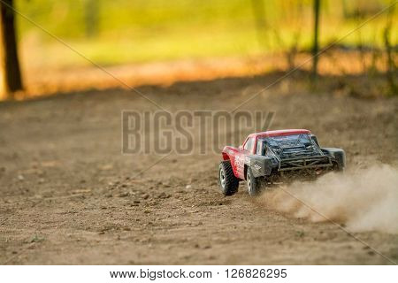 CALDWELL IDAHO/USA - APRIL 19 2016: Working on getting better with an RC car for the local races at the track