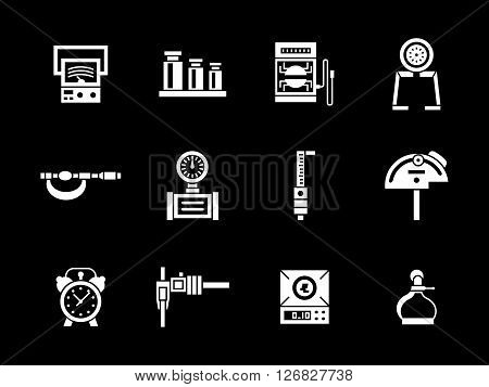 Measuring equipment for construction, engineering, repair. Metrology calibration tools. Collection of white glyph style vector icons on black. Elements for web design, business, mobile app.