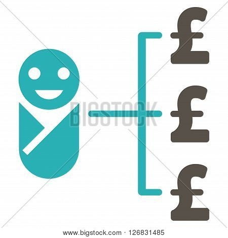 Baby Pound Expenses vector icon. Baby Pound Expenses icon symbol. Baby Pound Expenses icon image. Baby Pound Expenses icon picture. Baby Pound Expenses pictogram. Flat baby pound expenses icon.