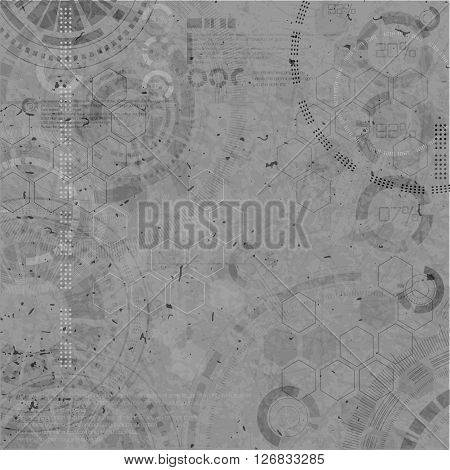 Technology background. Technological elements on grey backgrounds with grunde. Vector illustration with techno element.
