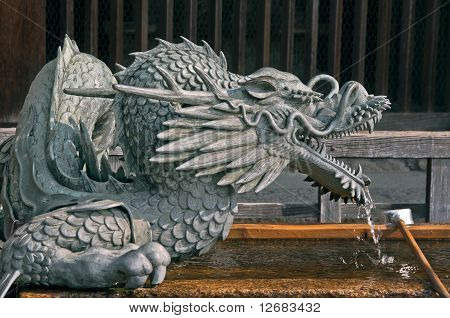 Japanese Fountain Dragon In Japanese Temple