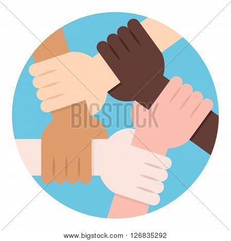 Solidarity Circle on Earth. Five Hands Holding Each Other as an Interracial Solidarity