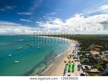 Aerial view of Porto de Galinhas beach located in Pernambuco State, Brazil