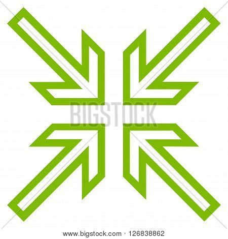Implode Arrows vector icon. Style is outline icon symbol, eco green color, white background.