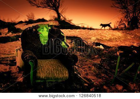 Forgotten Abandoned Armchair In Desolation
