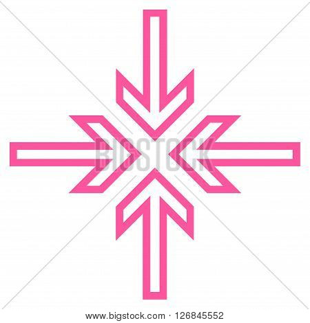 Implode Arrows vector icon. Style is outline icon symbol, pink color, white background.