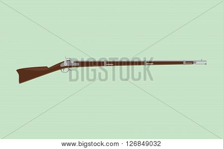 flintlock rifle isolated with green background vector