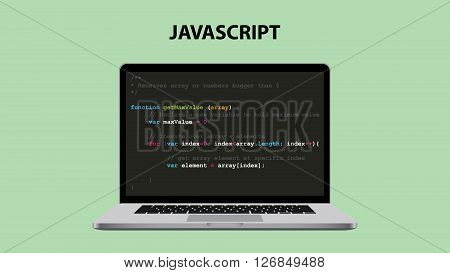 javascript programming language illustration with laptop and java script code vector illustration