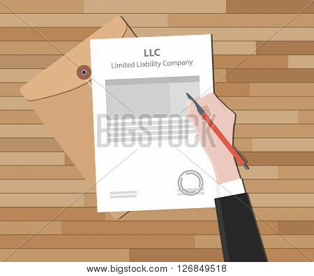 llc limited liability company with document and sign paper vector illustration poster