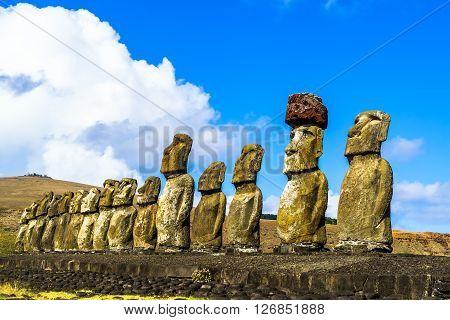 Standing Moai at Ahu Tongariki on Easter Island, Chile