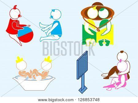genre scenes with children: play, watch, wash
