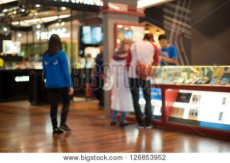 Smart Phone store interior with bokeh background