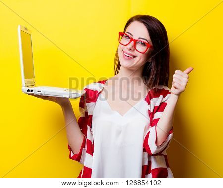 Portrait Of The Young Woman With Laptop