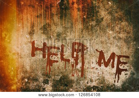 Horror Crime Concept. Help Message on Bloody Background Scary Wall