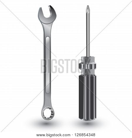 Screwdriver and Wrench.Object tool isolated on white background. Screw Driver with Wrench on a white background.