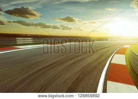Motion blurred race track vintage mood .