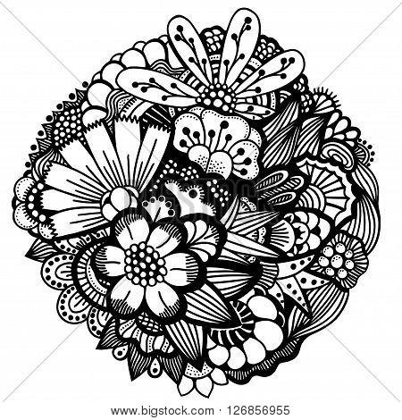 Set of Spring flowers. Spring flowers hand drawn picture in a circle . Spring flowers art . Spring flowers vector. Spring flowers ornament round.
