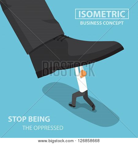 Isometric Businessman Fight Against Giant Foot