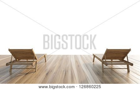 Two chaise longues on wooden ground isolated on white background. Mock up 3D Rendering