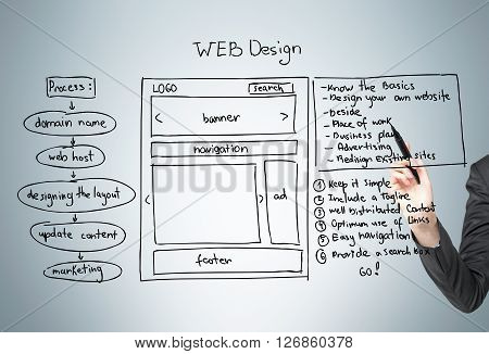 Businesswoman hand drawing web design plan scheme on grey background