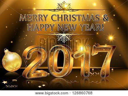 Happy new year 2017 vector photo free trial bigstock happy new year 2017 elegant black vector background illustration with glowing sparkling stars and christmas balls for the year 2017 m4hsunfo