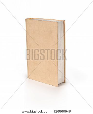 Blank hardcover book isolated on white background with copy space