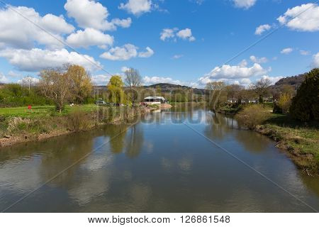 Wye valley view of the River Wye Monmouth Monmouthshire Wales uk
