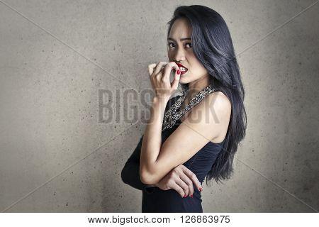 Beautiful woman being worried