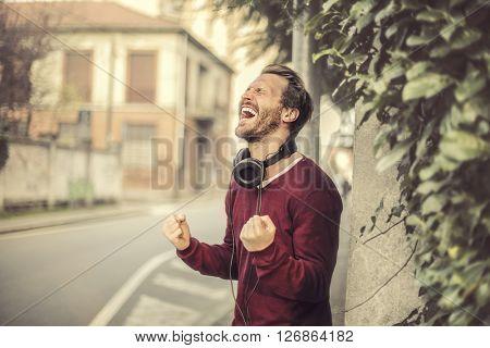 Jubilant young man