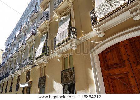 Valencia barrio del Carmen street facades in Spain
