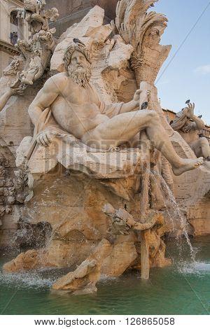Bernini's Fountain of the Four Rivers - Fontana dei Quattro Fiumi, Piazza Navona, Rome, Italy