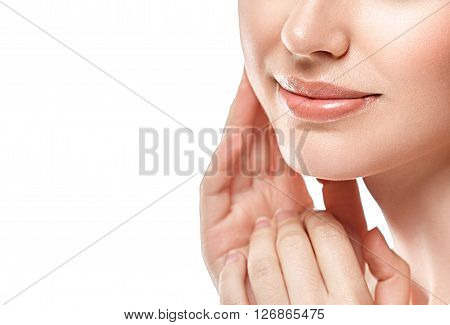 Perfect Lips.chin Cheeks With Fingers On Face. Sexy Girl Mouth Close Up.