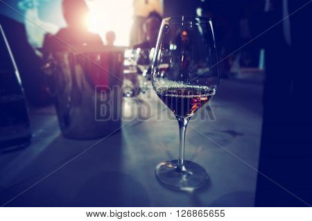 Close Up Picture Of Wine Glasses In Restaurant