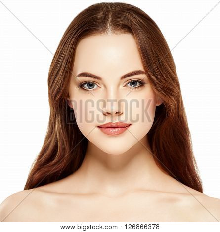 Beautiful Woman Face Close Up Portrait Young Studio On White With Beautiful Hair