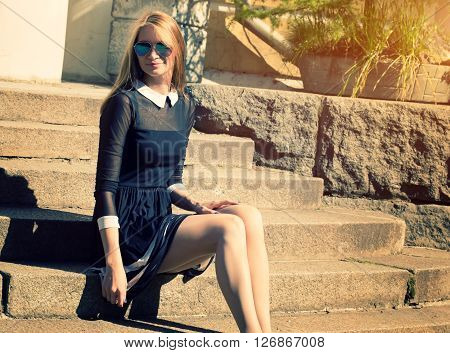 Outdoor Sensual Fashion Closeup Of Young Pretty Woman In Vintage Dress